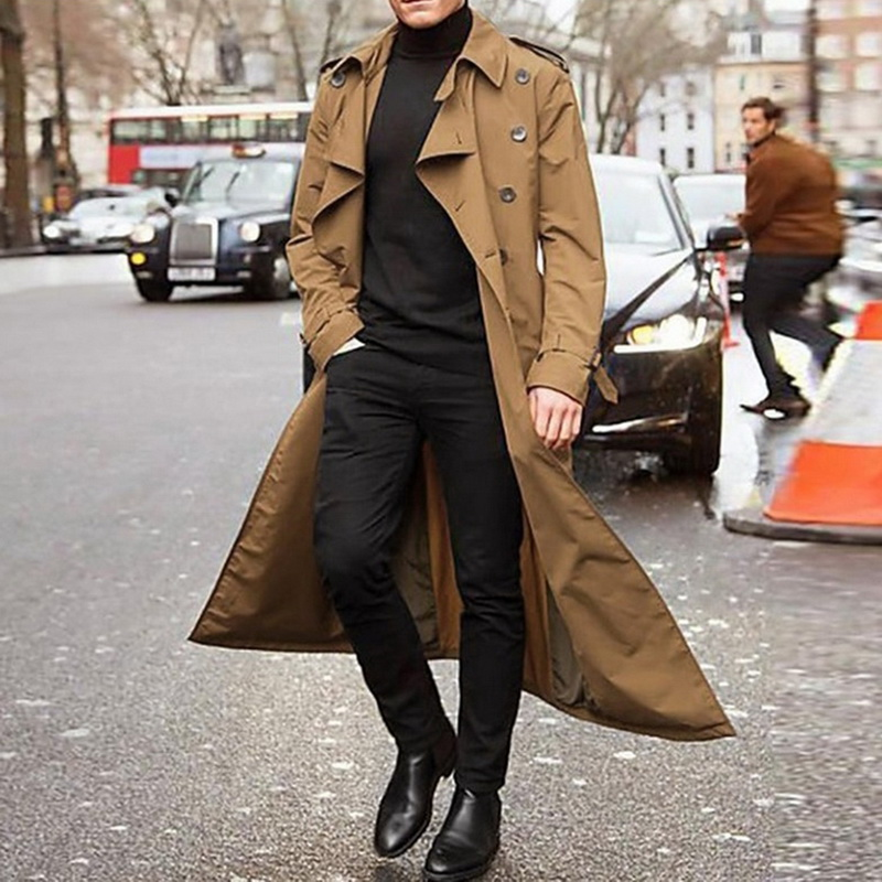 Gentleman Long Slim Men Trench Coat Double-breasted Lapel Windbreaker Male Fashion Autumn Winter Coat Long Design Trench Male