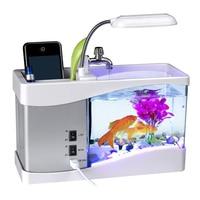 USB Desktop Mini Fish Tank Aquarium with LED Clock Table Decor Organizer PI669