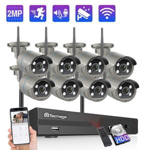 Image 1 - Techage 8CH 1080P كاميرا لا سلكية نظام NVR 4 مصفوفات اضواء ليد 2MP واي فاي 2 Way الصوت والفيديو الصوت في الهواء الطلق طقم مراقبة الأمن CCTV