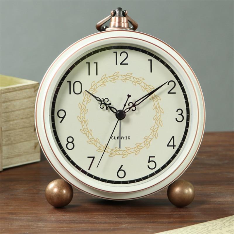 European Fashion Retro Creative Silent Alarm Clock Student Bedroom Bedside Table Clock Simple Small Desktop Clock Home Decor|Desk & Table Clocks|   - AliExpress