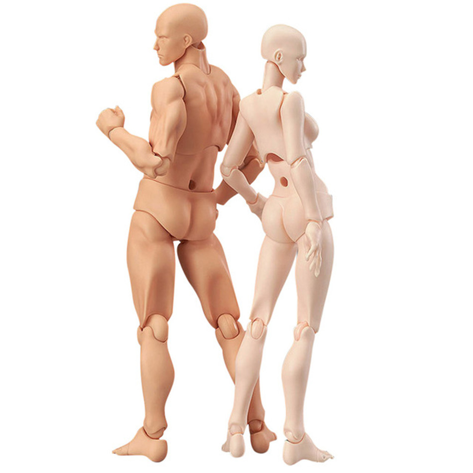 13cm <font><b>Doll</b></font> Action Figures figurine Toys Drawing Artists Movable body Male Female Joint figure PVC Model Mannequin <font><b>bjd</b></font> Art Sketch image