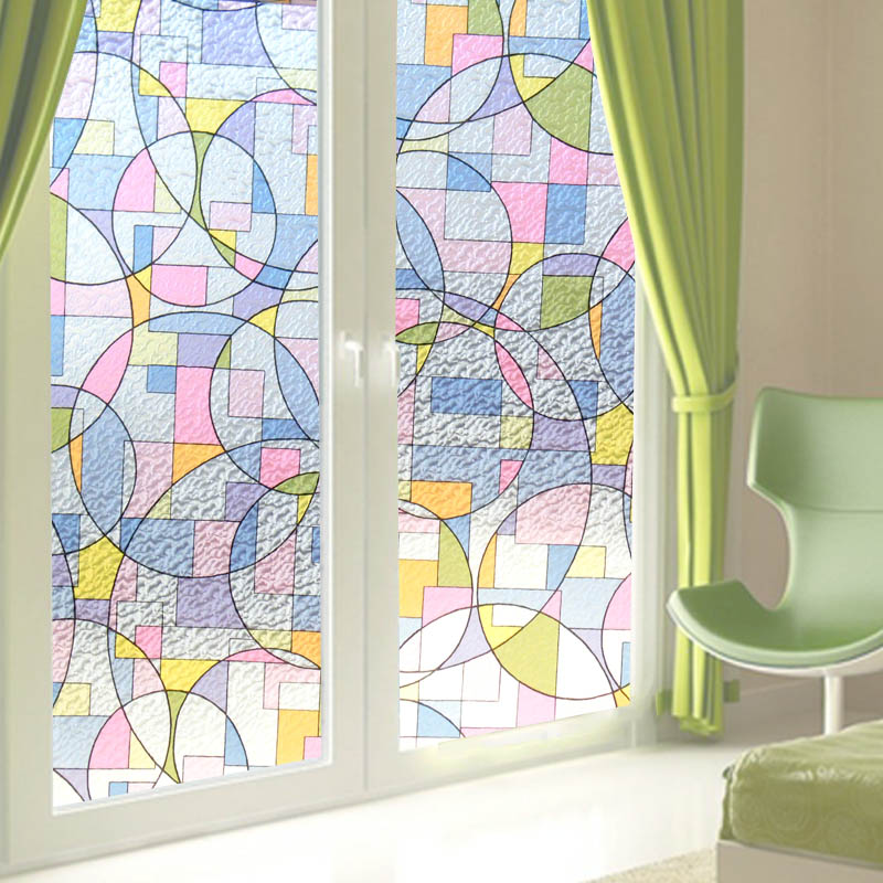200cm Window Privacy Film Stained Glass Window Self adhesive Film Static Decor Film No Glue Heat Control Anti UV Window Sticker in Decorative Films from Home Garden