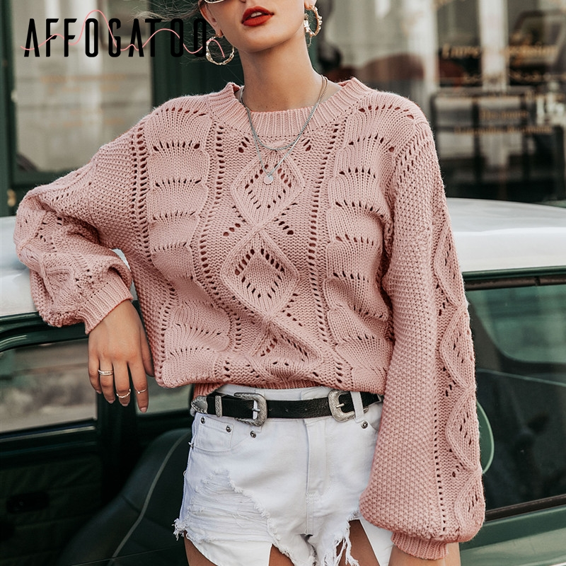 Affogatoo Casual O-neck Hollow Out Knitted Sweaters Women Lantern Sleeve Female Pullover Sweaters Autumn Winter Ladies Jumpers