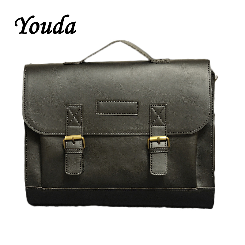 Youda Original Design Men's Business Briefcase Classic Vintage Handbag Large Capacity Briefcase Retro Casual Shoulder Bags