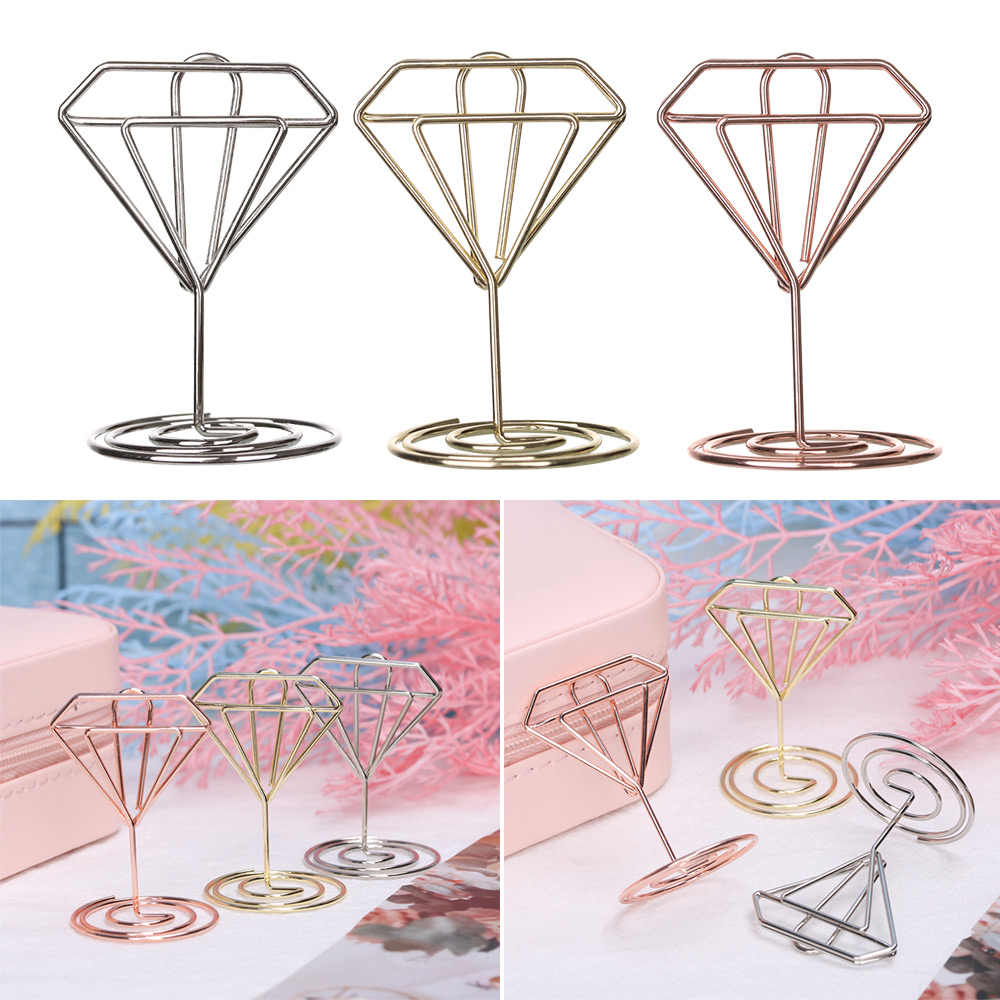 Nieuwe Cool Wedding Party Desktop Decoratie Plaats Kaarthouder Romantische Hart Diamant Foto Clip Tafel Nummer Stand Paper Clamp