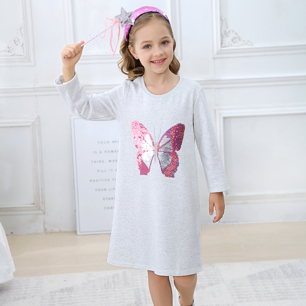 Long Sleeve Autumn Winter Toddler Girls Dresses with Animal Applique Cotton Kids Princess Dress
