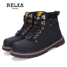 цена на RELKA 2019 Winter Autumn Ankle Boots Genuine Leather Warm Soft Plush Martin Boots Large Size 45 46 Thick Heel Men Shoes B7