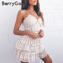BerryGo Women white lace dress party spaghetti strap Embroidery ruffle sexy dress V neck hollow out summer dresses ladies 2019