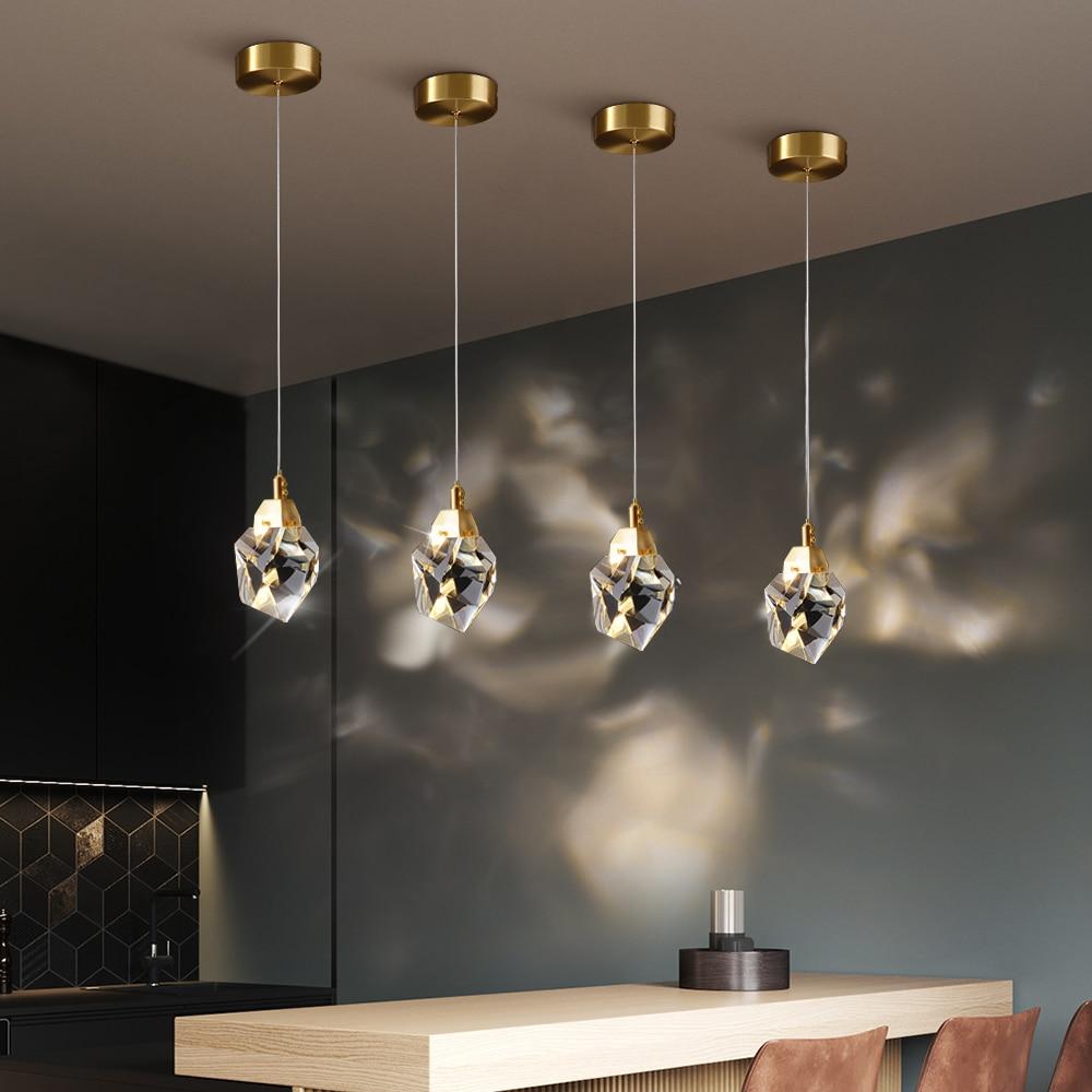 Modern Luxury Crystal Pendant Light Living Dining Room Bedroom Indoor Lighting Fixtures Kitchen Island LED Hanging Lamp