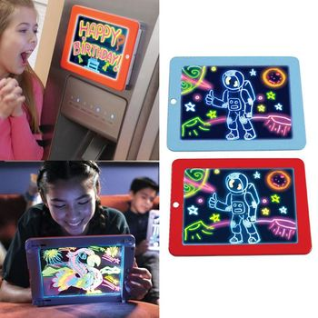 3D Magic Drawing Pad LED Light Luminous Board Intellectual Developmen Kids Educational Toys for Children Painting Learning Tools