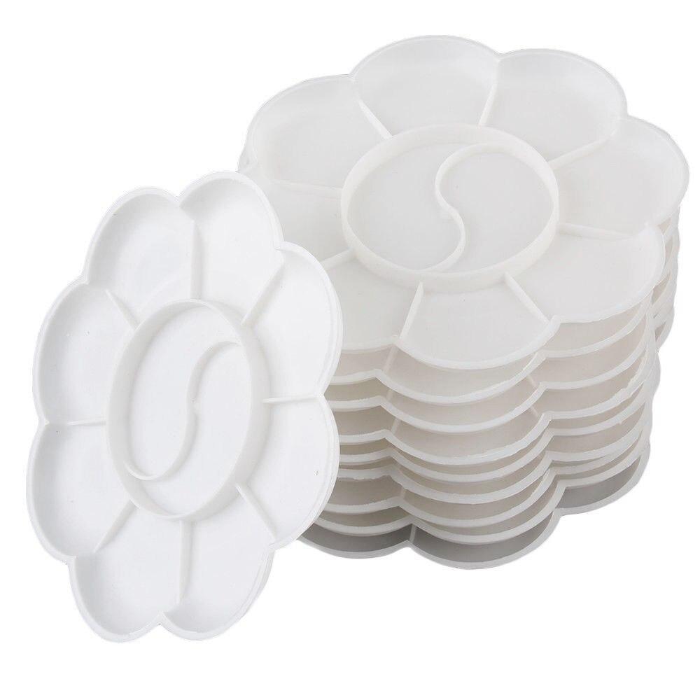 1pcs 8 Cells Plum Blossom Palette Paint Tray Artist Oil Watercolor White Plastic Palette Art Supplies