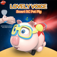 Lovely Pet Pig Toy Unique Shape Kids Watch RC Car 2.4G Follow Me Lighting Music Remote Control Infrared With Mist Spray Function