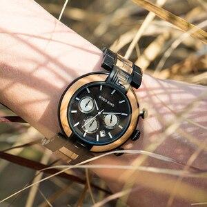 Image 3 - Часы мужские בובו ציפור עץ שעון גברים סטופרים בעבודת יד יפן תנועת קוורץ שעוני יד מתנה עבור זכר erkek kol saati