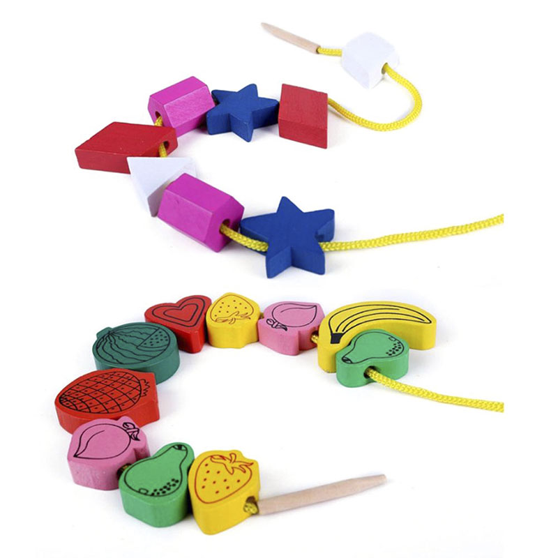 Wooden Animal Fruit Block Stringing Beaded Toys Cognitive Educational Toy Creative Handmade Beads Toys For Children