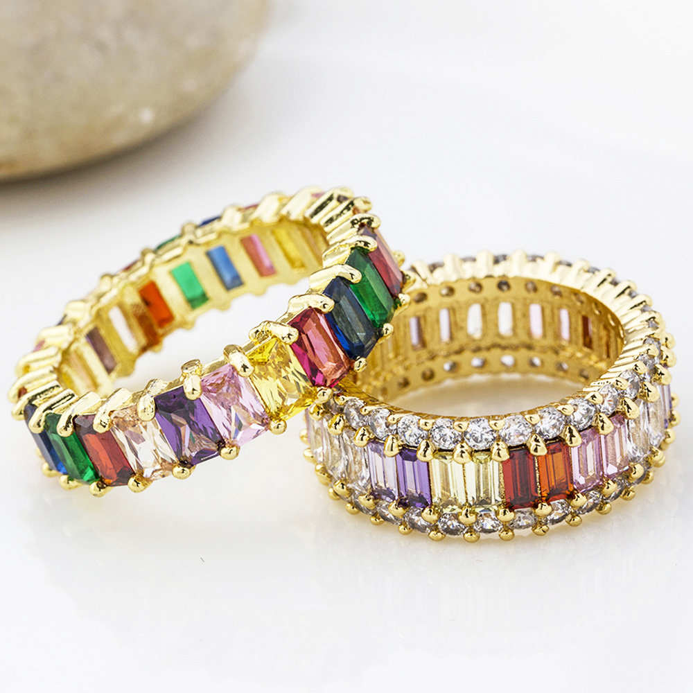 Fashion Bohemian Thin Baguette Copper CZ Gold Rainbow Ring Female Charm Rings Zircon Jewelry For Women Wedding Anniversary Gifts