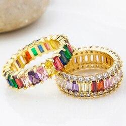 Moda czeski cienki bagietka miedź CZ złoty pierścień tęczy kobiece pierścionki z zawieszką cyrkon biżuteria dla kobiet prezenty na rocznicę ślubu