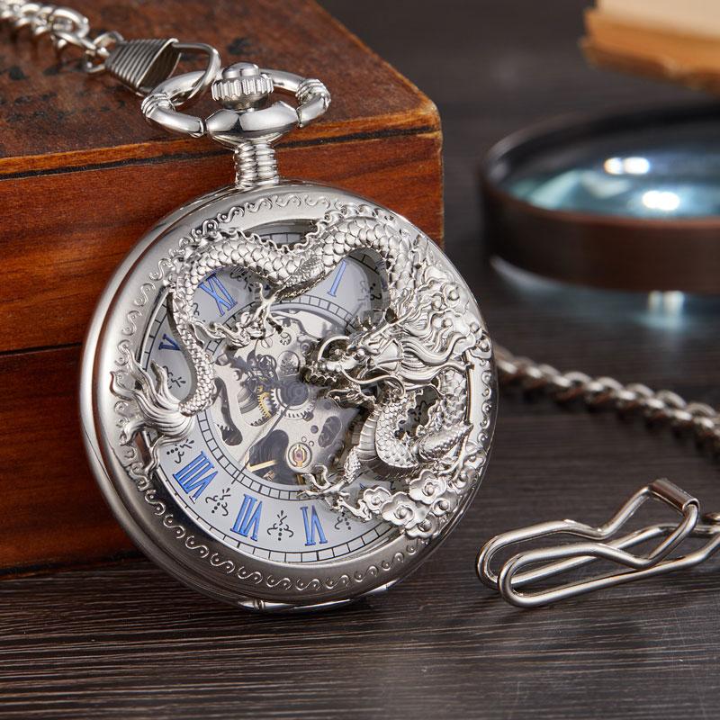 Relógio de Bolso Luxo Sliver Steampunk Esqueleto Chinês Voando Dragão Mecânico Corrente Pingente Mão Mecânica Vento Men Fob Relógio