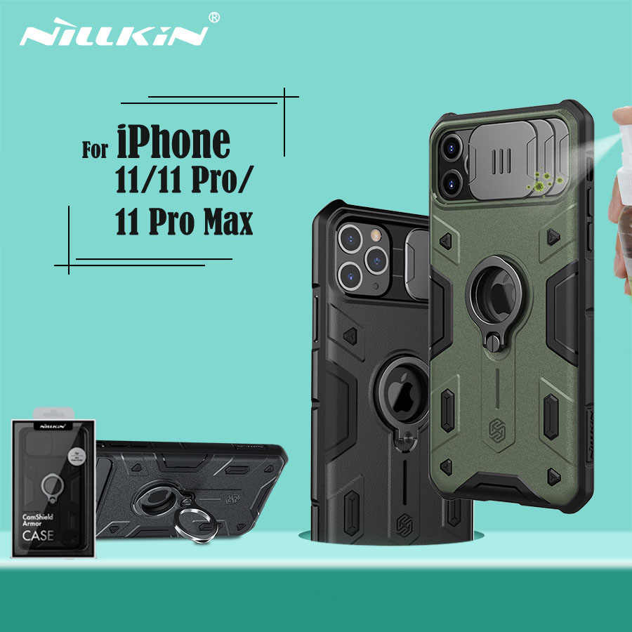 Voor Iphone 11 Pro Max Case Nillkin Camshield Armor Case Slide Camera Bescherm Privacy Ring Kickstand Back Cover Voor IPhone11 pro