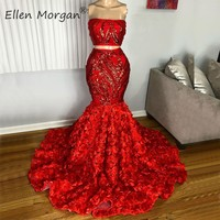 Red 2 Pieces Mermaid Long Prom Dresses 2020 Sexy Strapless Sequined Flowers Real Photos Party Gowns for African Black Girls