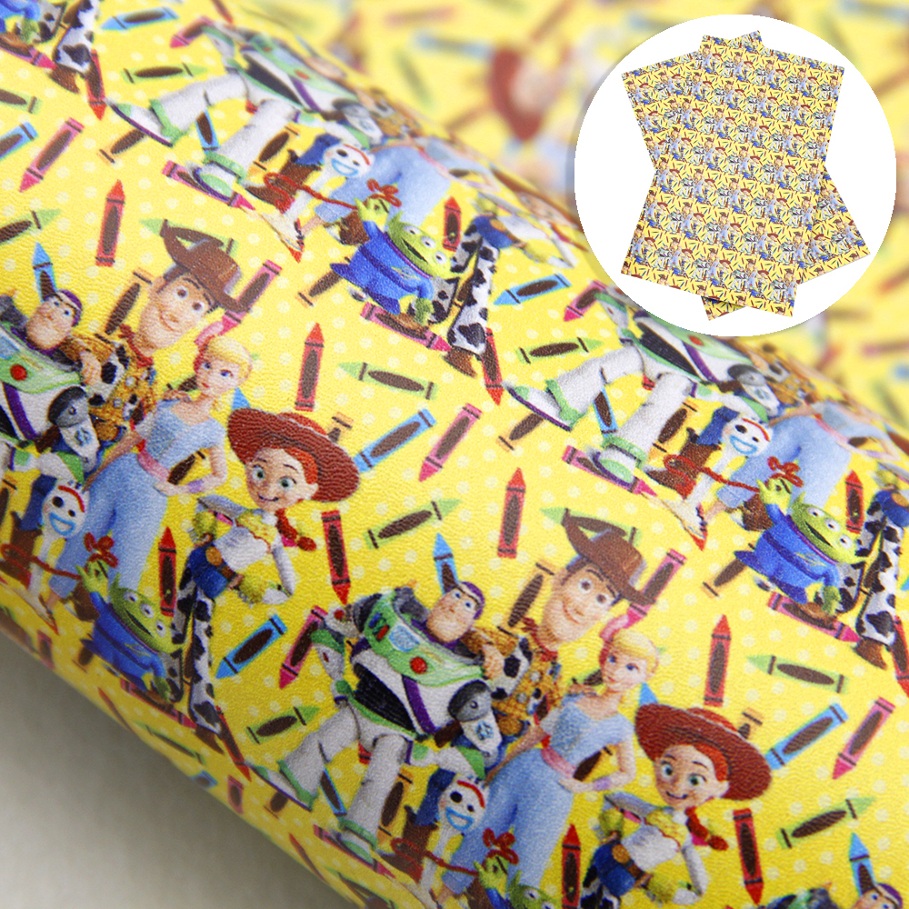 20*34cm Back To School Series Cartoon Printed Faux Leather Fabric For Bows Synthetic Leather DIY Handmade Materials,1Yc9983
