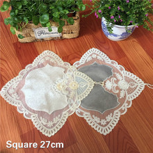 NEW European Velvet Water Soluble Embroidery Lace Placemat Coaster Balcony Coffee Table Mat Cup Furniture Electrical Dust Cloth