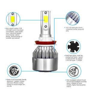 Image 5 - 2 шт. H11 H7 H1 H3 по технологии COB светодиодный налобный фонарь лампы H4 (Подол короче спереди и длиннее сзади) Луч 72W фары для 8000LM 6500K Авто головного средства ухода за кожей Шеи светильник 9005 9006 светодиодный автомобильный светильник тумана светильник s