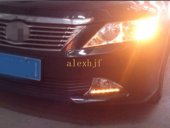 July King LED Daytime Running Lights With Fog Lamp Cover Case for Toyota Camry 7th Aurion 12-14, DRL With Yellow Turn Signals