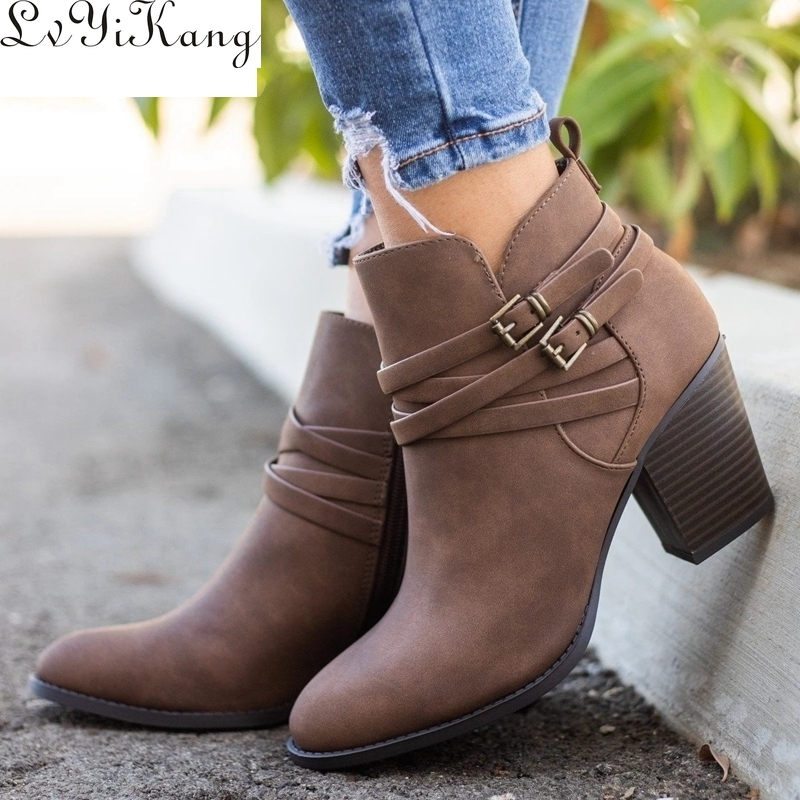 2019 New Vintage Boots Women Buckle PU Shoes Women Short Boots Square Heels Fashion Pointed Toe Ankle All Match Breathable New