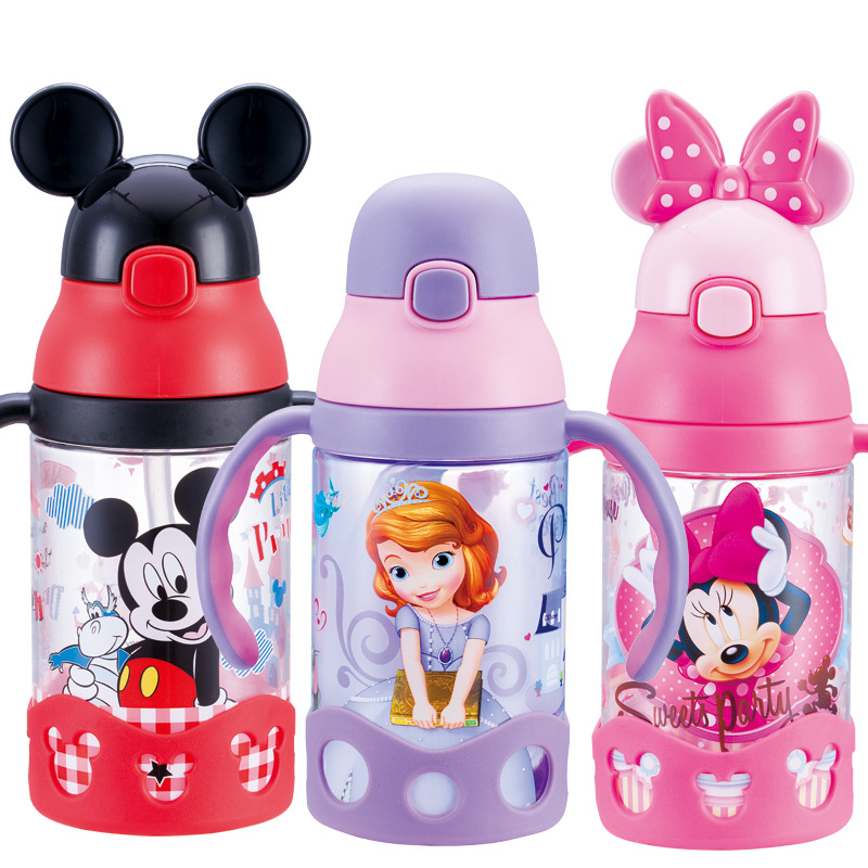 Disney Baby Cup With Straw CHILDREN'S Cups Leak-Proof Sippy Cup Infant Drink Glass Sub-Kids Kettle Water Bottle