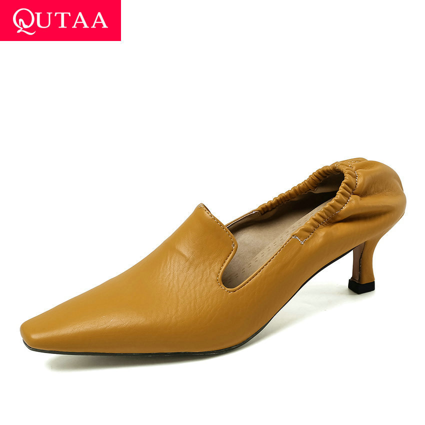 QUTAA 2020 Elastic Band Thin Heels Fashion Slip On Women Single Shoes Pointed Toe Soft PU Leather Ladies Stilettos Size 34-43