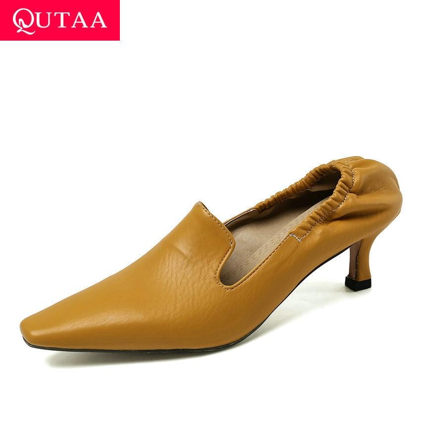 QUTAA 2020 Elastic Band Thin Heels Fashion Slip On Women Single Shoes Pointed Toe Soft PU Leather Ladies Stilettos Size 34-43