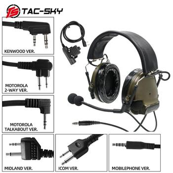 TAC-SKY leather headband COMTAC III noise reduction pickup tactical shooting hunting headset + military adapter PTTU94 PTT FG tac sky new comtac iii tactical hunting noise reduction pickup military shooting headset arc helmet track adapter u94 ptt fg