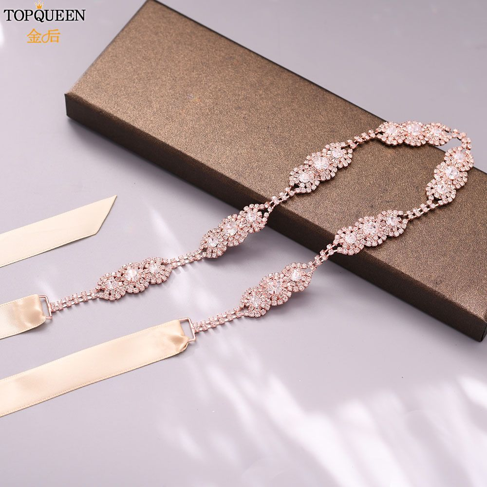 TOPQUEEN Rose Gold Environmental Alloy Bridal Waist Sash Dress Belts For Women Bridesmaid Belt Wedding Dress Belt S215-RG