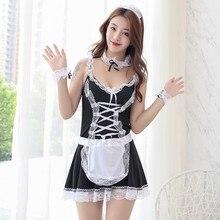 lingerie tempting body femme Sexy costume Maid Dress housemaid suit interesting uniform erotic sex shop femenina babydoll