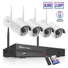 Techage 4CH 1080P אבטחה אלחוטית מצלמה NVR מערכת 2MP HD Wifi חיצוני מקורה טלוויזיה במעגל סגור מצלמה אודיו קול שיא מעקב ערכת