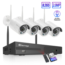 Techage 4CH 1080P كاميرا أمان لاسلكية نظام NVR 2MP HD واي فاي في الهواء الطلق كاميرا دائرة تليفزيونية مغلقة داخلية الصوت طقم مراقبة تسجيل الصوت