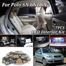 7 шт. Canbus Белый Автомобильный светодиодный светильник, лампочки для салона, комплект для Volkswagen VW POLO 6N 6N2 светодиодный светильник для интерьера 1995-2001