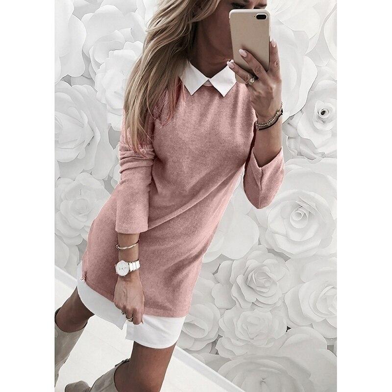 Повседневное офисное короткое платье размера плюс, женское осенне-зимнее Новое модное Повседневное платье из двух частей, однотонное плать...