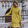 Women Solid Color A-Line Dress Patchwork Design Lace Ruffles Decor O-Neck Long Sleeve High Waist Slim Spring Autumn Mini Dress 2