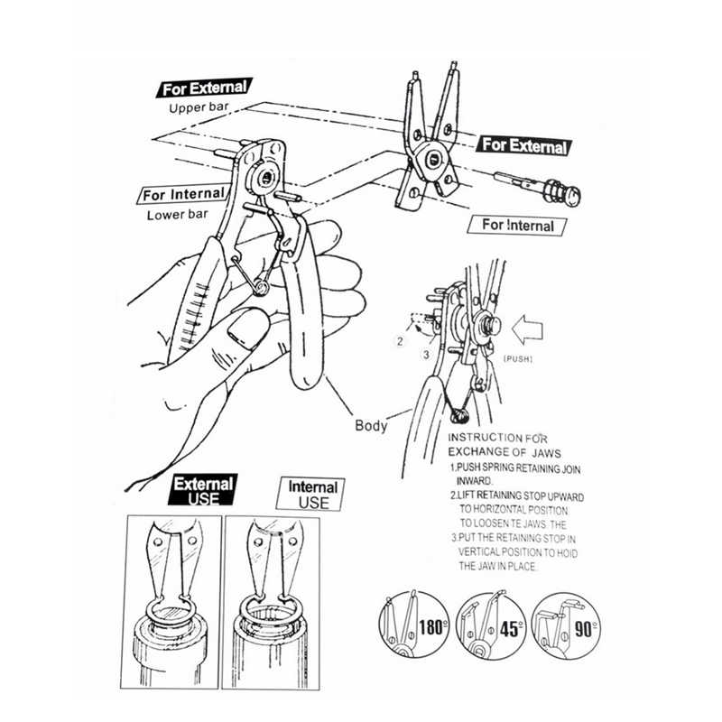 4 IN 1 세트 다기능 펜치 스냅 링 펜치 도구 멀티 크림프 도구 내부 외부 링 리무버 유지 서 클립 펜치