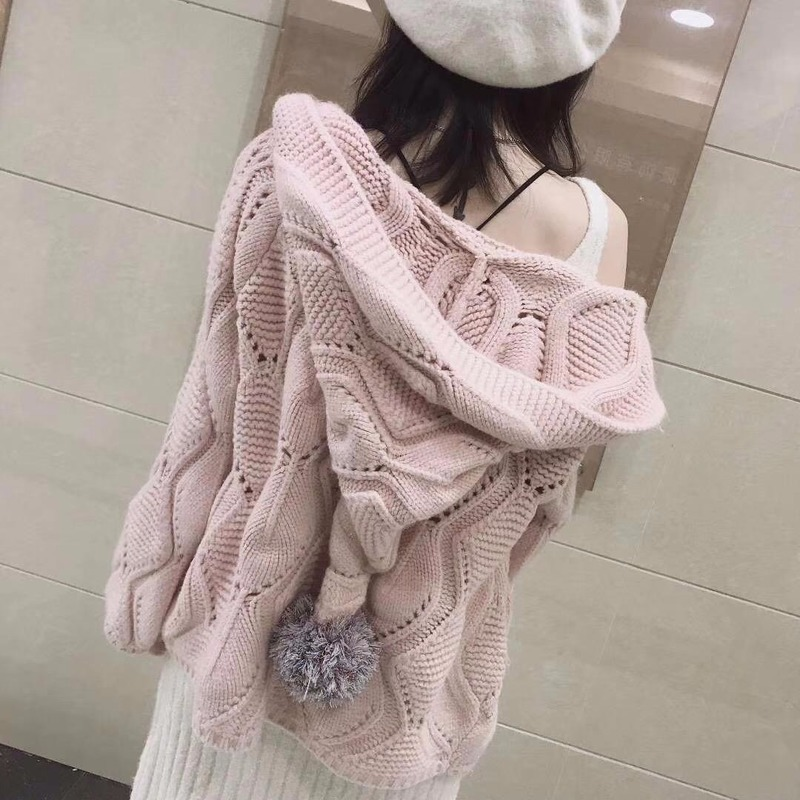 2019 Autumn Korean Version Of The Loose Loose Thin Hair Ball Hat Wild Knitted Cardigan Jacket Sweater Women