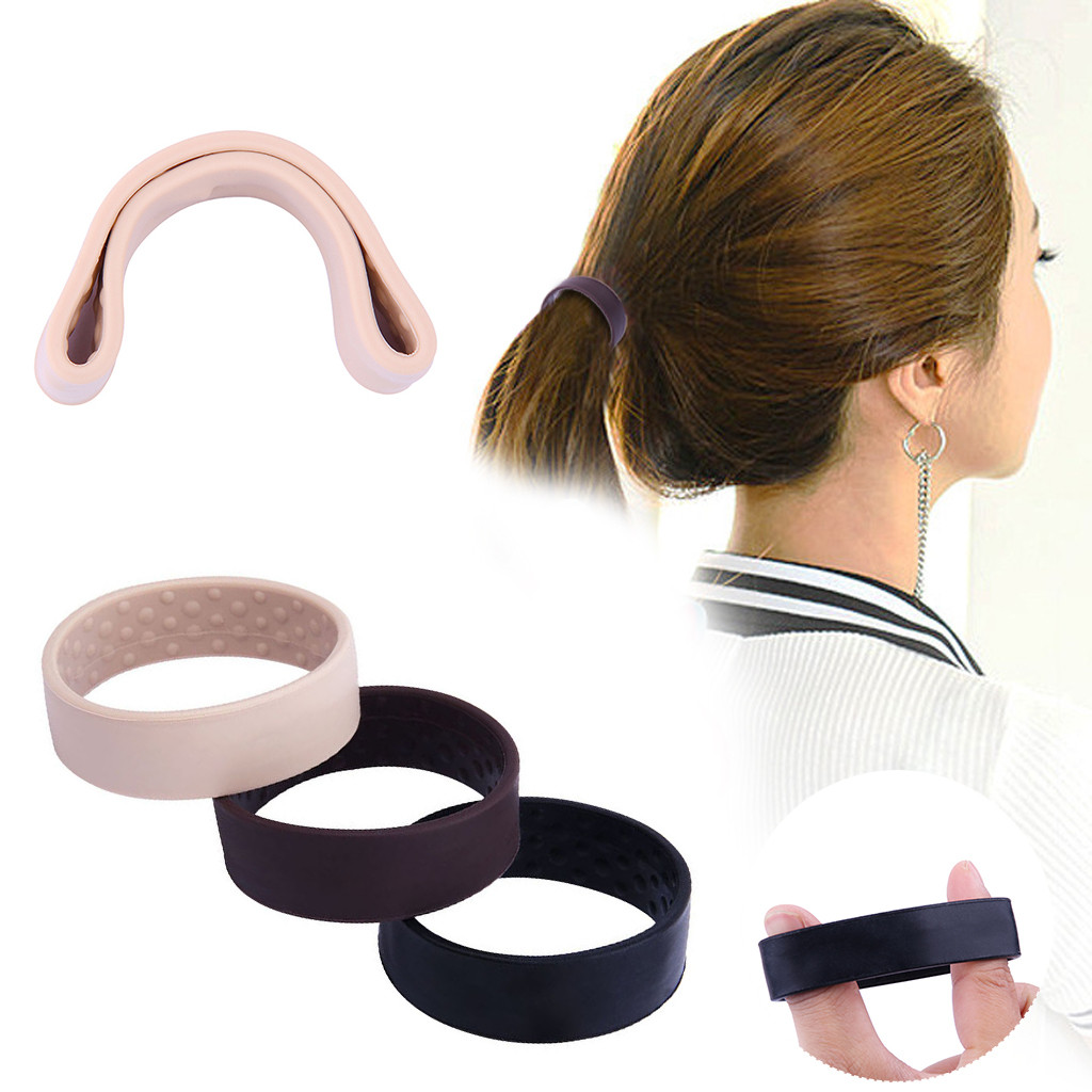 Color Hair Bobbles Large Thick Ponytail Hairbands Elastic  Band Women