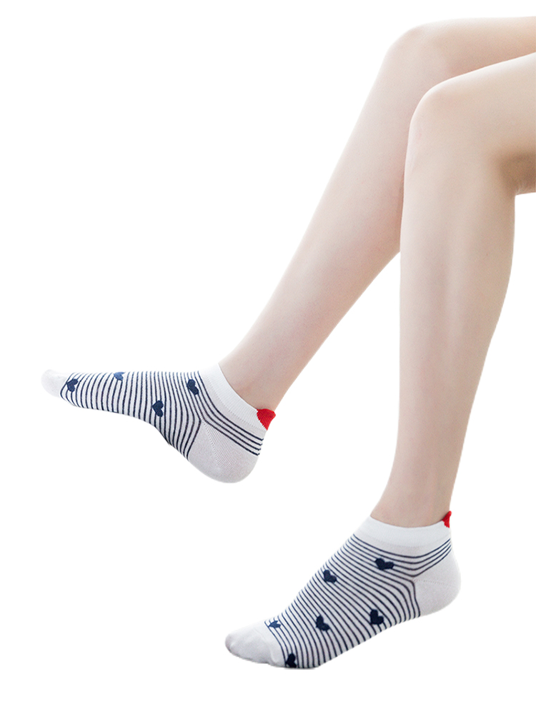 Cotton Socks Short Animal Red Heart Pink Cute 5pairs Women Casual New Arrivl Gril 35-40