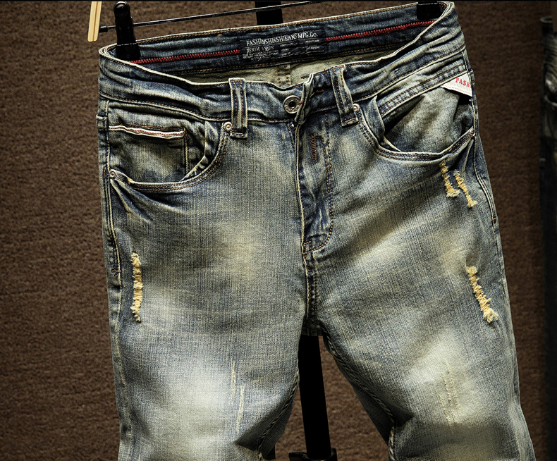 KSTUN Ripped Jeans for Men Slim Fit Retro Blue Stretch 2020 Hip Hop Spring Autumn Mens Jeans Brand Destroyed Torn Men's Denim Jeans 13