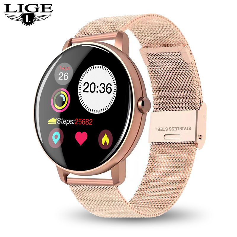 LIGE New LED Color Smart Watch Waterproof Sport For IPhone Heart Rate Blood Pressure Call Information SmartWatch For Women Men