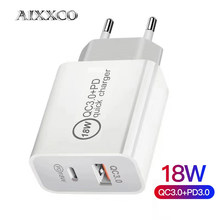AIXXCO 18W Dual PD Charger Quick Charge QC 3.0 USB Charger for iPhone 12 X Xs 8 Xiaomi Phone PD Charger USB C Charger