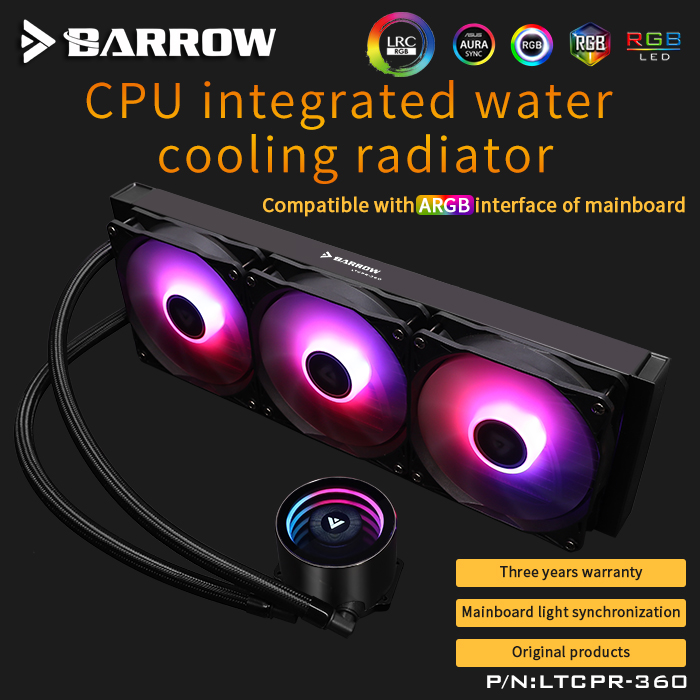 Barrow PC Case Water Cooling Kit 360mm Fan Heatsink Integrated CPU Cooler Fan Radiator Pump + CPU Block + Fan Cooling Building
