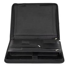 Vegan кожаная папка с застежкой-молнией портфель для бизнес IPad/стол и карты интервью