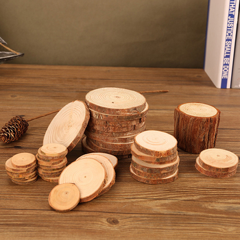 2Pcs DIY Handmade Natural Log Pine Round Chips Slices Annual Rings Wooden Coasters Decor Props Tree Bark Log Discs DIY Crafts image