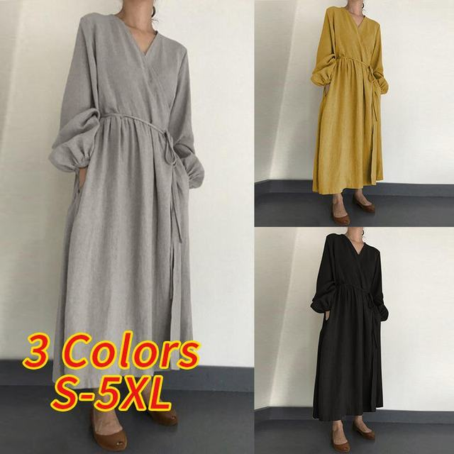 2021 Autumn Solid Sundress ZANZEA Casual V Neck Cotton Linen Dress Women Long Sleeve Maxi Long Vestido Female Kaftan Robe Belted 4